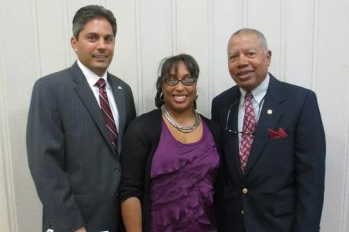 Rep. Anthony DeLuca, Sen. Toi Hutchinson, PFLC VP Fred Flynn