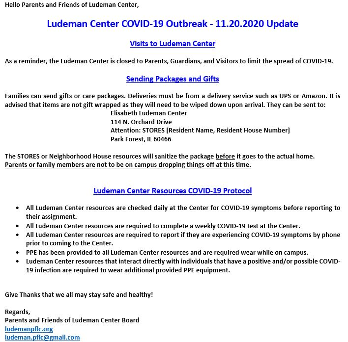 ELDC COVID-19 Outbreak Email 11.20.2020